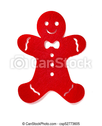 flat red gingerbread man on a white background - csp52773605