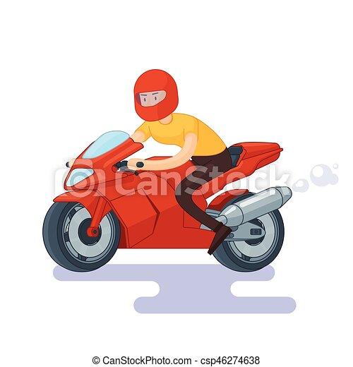 Flat Red Sport Bike Concept - csp46274638