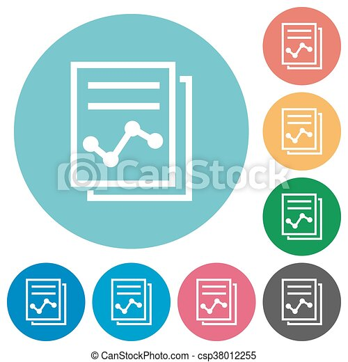 flat report icons flat report icon set on round color background