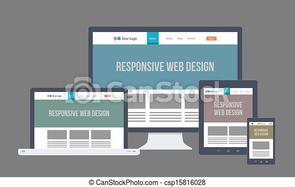 Flat Responsive Web Design - csp15816028