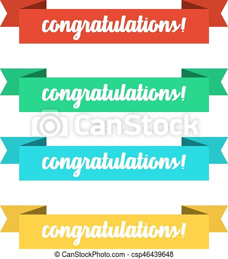 flat ribbons banners with congratulations ribbons in flat design