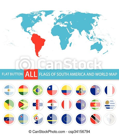Flat round flags of south america complete set and world map flag flat round flags of south america complete set and world map flag set in alphabetical orderl elements are separated in editable layers clearly labeled gumiabroncs Images