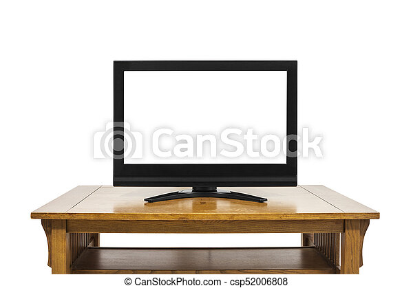 Flat Screen Television on Large Wood Table Isolated on White - csp52006808