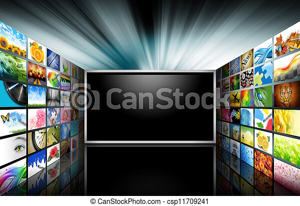 Flat Screen Television with Images - csp11709241