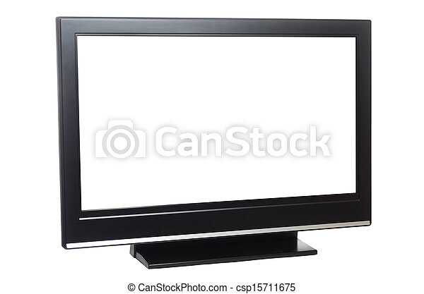 flat screen tv isolated on white - csp15711675