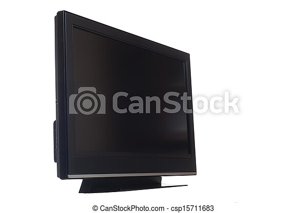 flat screen tv isolated on white - csp15711683