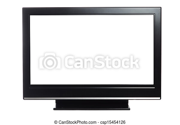 flat screen tv isolated on white - csp15454126