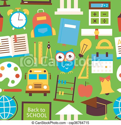 Flat Seamless Pattern Back to School Objects over Green - csp36764715