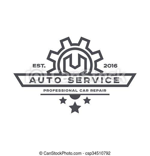 Reparación de coches, llave inglesa, signo de logo plana. - csp34510792