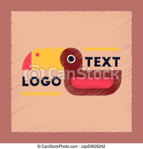 flat shading style icon bird logo - csp50626242