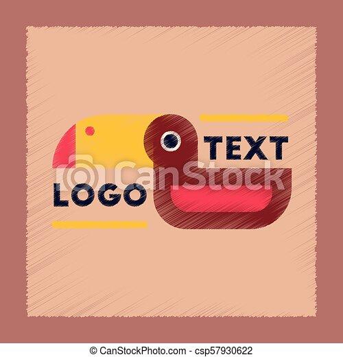 flat shading style icon bird logo - csp57930622