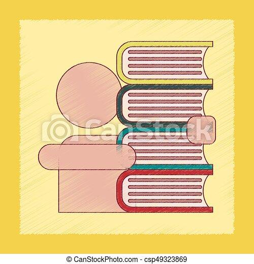 flat shading style icon schoolboy books - csp49323869