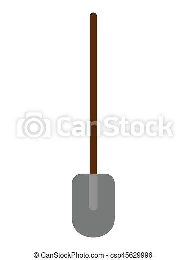 Flat Shovel icon on white background. Vector Illustration. - csp45629996