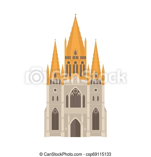 Flat Sightseeing and landmark. Architecture of Australia. St paul's cathedral building in melbourne - csp69115133