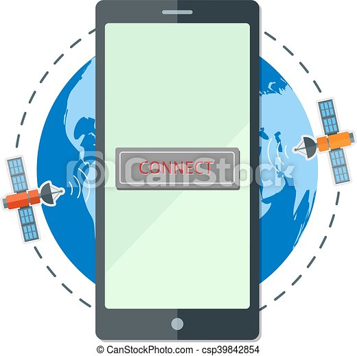 Flat smartphone on the background of satellites and earth - csp39842854