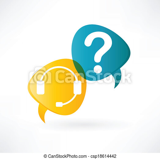 flat speech bubble icon with headphones and question mark - csp18614442