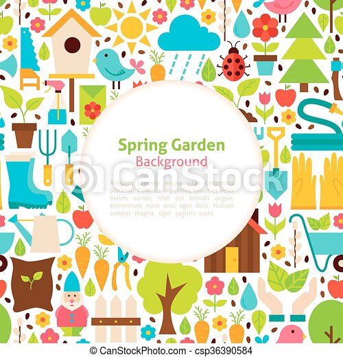 Flat Spring Garden Vector Background