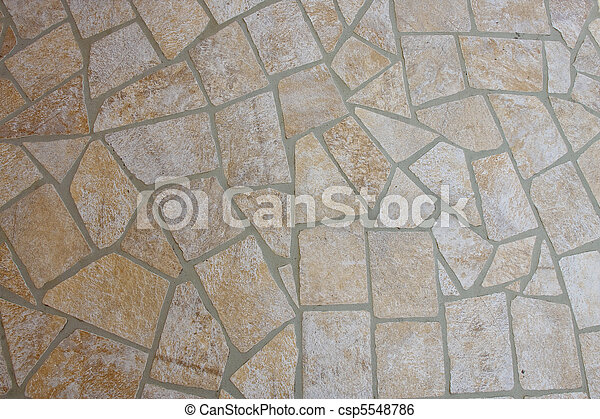 Flat Stone And Mortar Patio Stock Photo
