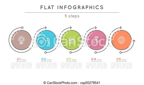 Flat style 5 steps timeline infographic template. thin line business ...