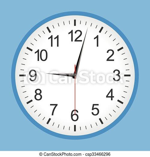 Flat style blue analogue clock - csp33466296