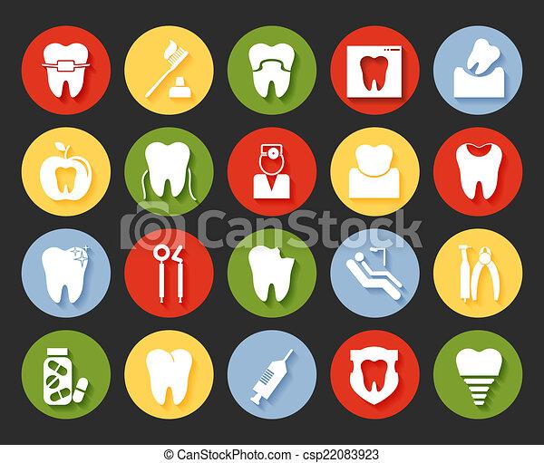 Flat style dental icons set - csp22083923