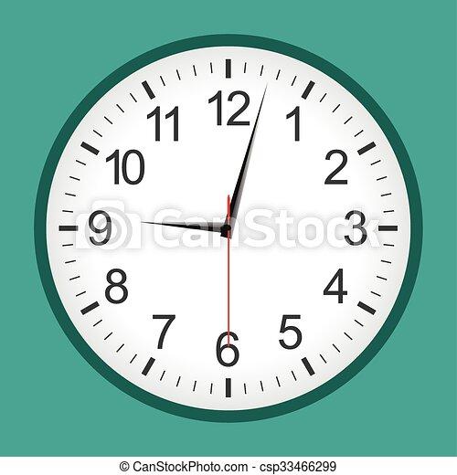 Flat style green analogue clock - csp33466299