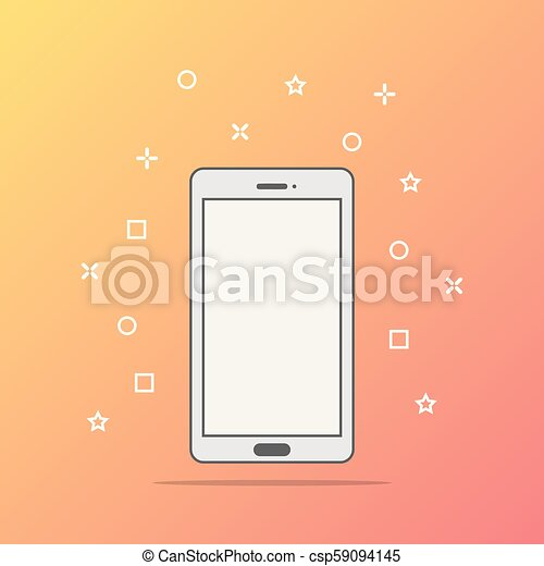 Flat style icon of phone vector illustration - csp59094145