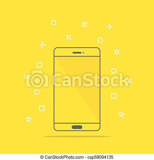 Flat style icon of phone vector illustration - csp59094135