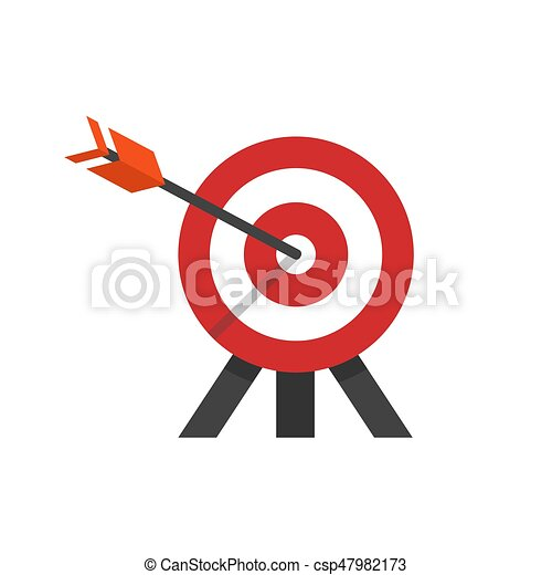 flat style illustration of target with arrow in a bulls eye on tripod. - csp47982173