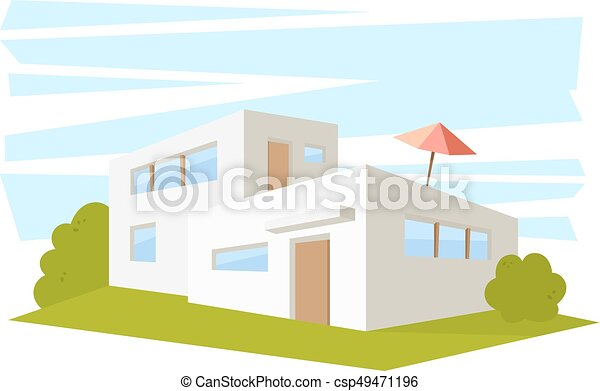 modern architecture drawing. Perfect Architecture Flat Style Modern Architecture House With Green Lawn Vector Drawing In The  Perspective View Isolated To Modern Architecture Drawing