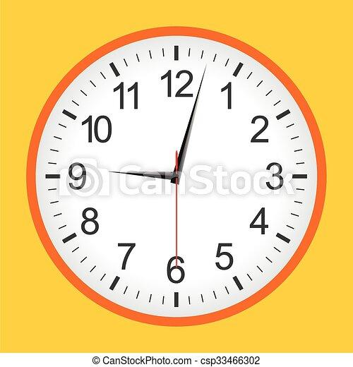 Flat style orange analogue clock - csp33466302