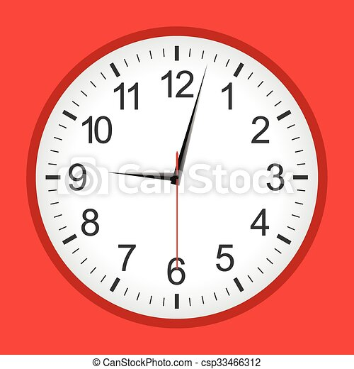 Flat style red analogue clock - csp33466312