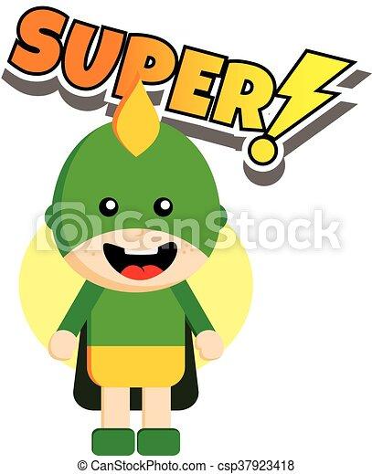 flat style superhero character avatar on ribbon label creative