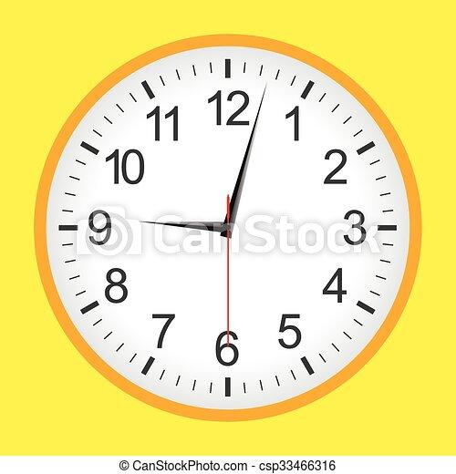 Flat style yellow analogue clock - csp33466316