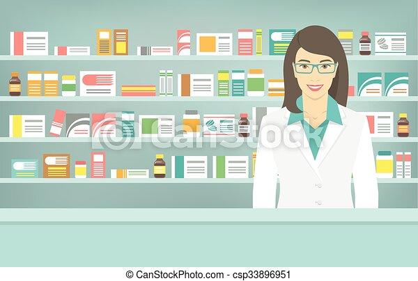 pharmacist clip art  Flat style young pharmacist at pharmacy opposite shelves of ...