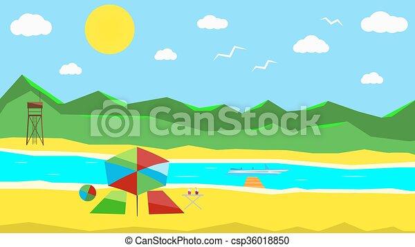 flat sunny beach color flat background sunny beach clipart vector rh canstockphoto com victor beach dental vector benchmark