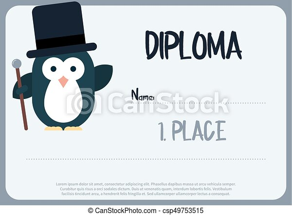 Flat Template Of Diploma Decorated With Penguin Stylized As
