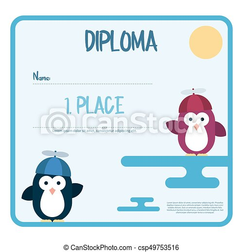 Flat Template Of Diploma Decorated With Penguins Stylized As
