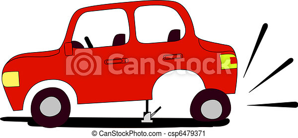 Red Car With Flat Tire Waits Assistance From Anyone Who Would Like To