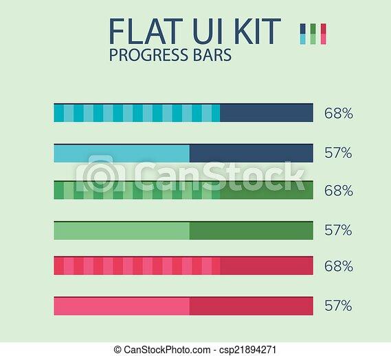 Flat ui kit progress bars design template in three colors with flat ui kit progress bars design template in three colors with percentage it could be used for loading or progress in application maxwellsz