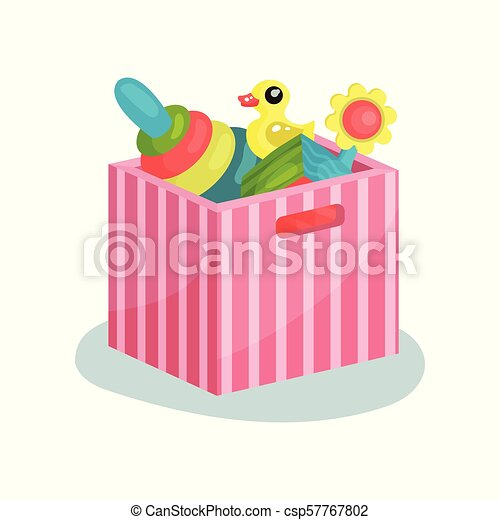 Flat vectir icon of pink striped container full of children toys. Pyramid with colorful rings, rubber duck, cube and flower - csp57767802