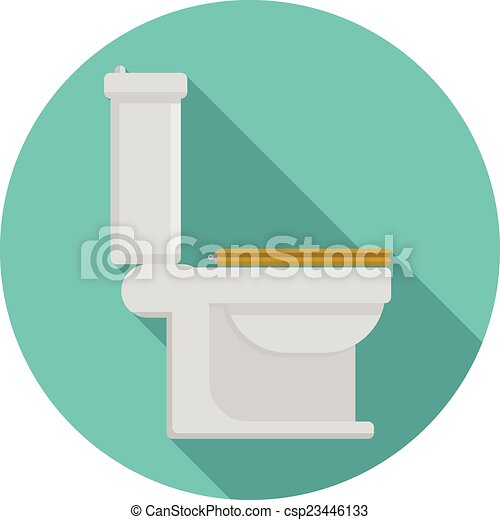 Flat Vector Icon For Toilet Gray Toilet Pan With Yellow