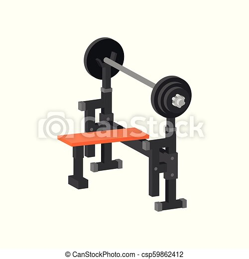 Flat vector icon of bench press machine. Gym equipment for bodybuilding and weightlifting exercises. Sport and healthy lifestyle theme - csp59862412