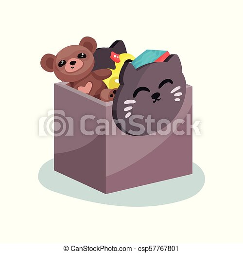 Flat vector icon of plastic box with cat face full of children toys. Brown teddy bear, yellow rubber duck and colorful cube - csp57767801