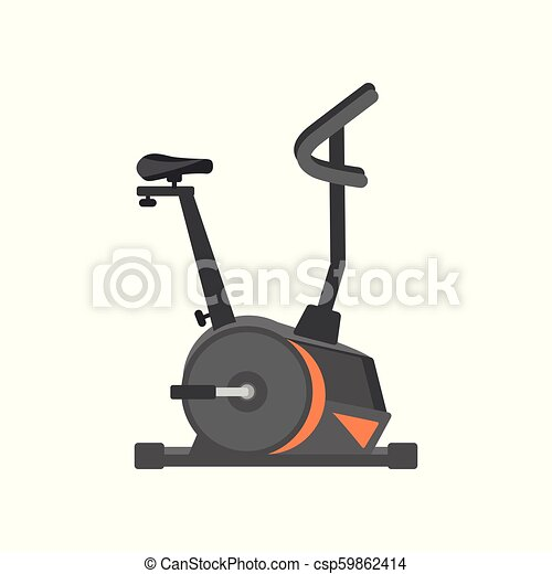 Flat vector icon of stationary bicycle. Exercise equipment. Health and physical activity. Design for advertising poster or flyer of sport club - csp59862414