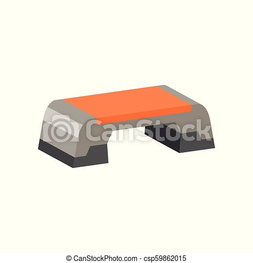 Flat vector icon of step platform. Exercise equipment. Aerobics theme. Element for promo poster or banner of sport goods store - csp59862015