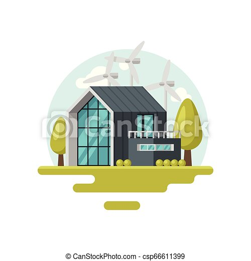 Flat vector icon with modern living house, wind turbines, green trees and  bushes  Eco-friendly residential building