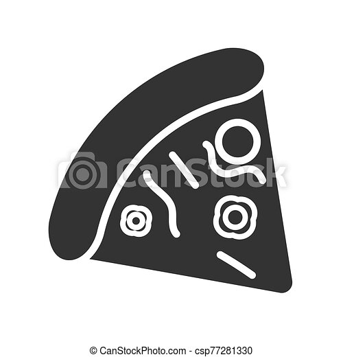 Flat vector pizza icon. The silhouette is isolated on a white background - csp77281330