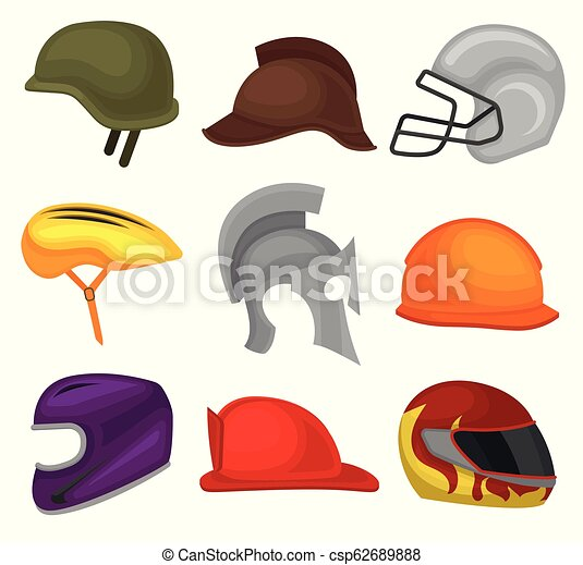 Flat vector set of 9 helmets. Protective headgear for soldier, horse rider, football player, biker, knight, builder and firefighter - csp62689888