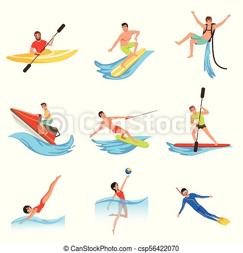 Flat vector set of cartoon people characters involved in extreme water sports. Young women and men. Active summer recreation - csp56422070